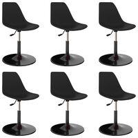 vidaXL Otočné jedálenské stoličky 6 ks, čierne, PP