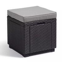 Allibert Cube Skladovacia taburetka, grafitová sivá 213785