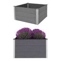 vidaXL Vyvýšený záhradný záhon, WPC 100x100x54 cm, sivý