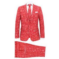 vidaXL 2-dielny pánsky vianočný kostým s kravatou veľkosť 48 červený s darčekmi