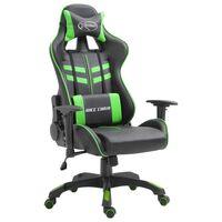 vidaXL Herná stolička, zelená, umelá koža