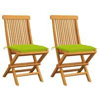 vidaXL Záhradné stoličky so žiarivo zelenými podložkami 2 ks tíkový masív