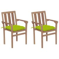 vidaXL Záhradné stoličky 2 ks, jasnozelené podložky, tíkový masív