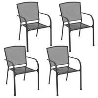 vidaXL Vonkajšie stoličky 4 ks, sieťovinový dizajn, antracitové, oceľ