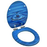vidaXL WC sedadlo s pomalým sklápaním MDF modrý dizajn s kvapkou