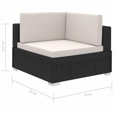 vidaXL 8-dielna záhradná sedacia súprava+podložky, polyratan, čierna