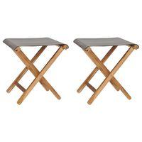 vidaXL Skladacie stoličky 2 ks teakový masív a látka tmavosivé