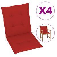 vidaXL Podložky na záhradné stoličky 4 ks, červené 100x50x4 cm