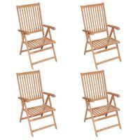 vidaXL Sklápacie záhradné stoličky 4 ks, tíkový masív