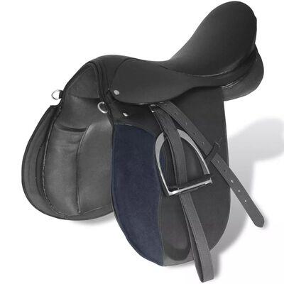"""Čierna sedlo sada pre jazdu na koni 17,5"""" reálna koža 18 cm 5-v-1"""