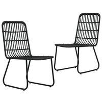 vidaXL Záhradné stoličky 2 ks, polyratan, čierne