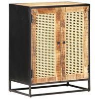 vidaXL Komoda 60x35x75 cm surové mangovníkové drevo a trstina