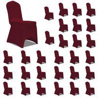 vidaXL Návleky na stoličku burgundy 30 ks naťahovacie
