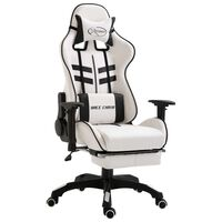 vidaXL Herná stolička s opierkou na nohy, čierna, umelá koža