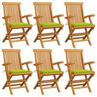 vidaXL Záhradné stoličky, jasnozelené podložky 6 ks, tíkový masív