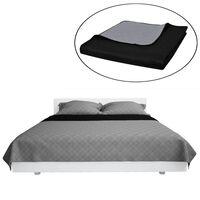 Obojstranná posteľná prikrývka, šedo čierna, 220 x 240 cm