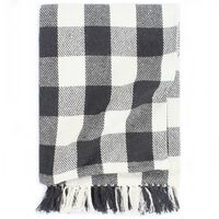 vidaXL Deka, bavlna, kockovaná 160x210 cm, antracitová