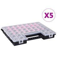 vidaXL Boxy na súčiastky s nastaviteľnými rozdeľovačmi 5 ks 385x283x50 mm plast