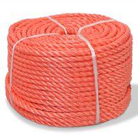 vidaXL Pletené lano polypropylénové 12 mm 250 m oranžové