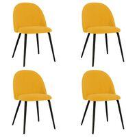 vidaXL Jedálenské stoličky 4 ks žlté látka