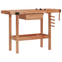 vidaXL Stolársky stôl so zásuvkou a 2 zverákmi tvrdé drevo
