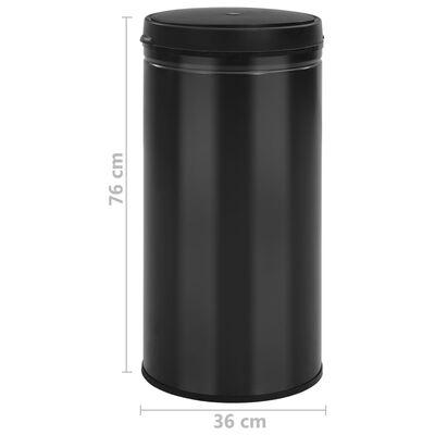 vidaXL Automatický odpadkový kôš, senzor 70 l, uhlíková oceľ, čierny