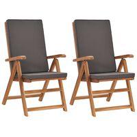 vidaXL Sklápacie záhradné stoličky+podložky 2 ks tíkový masív, sivé