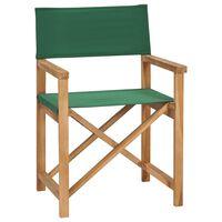 vidaXL Skladacia riaditeľská stolička masívne teakové drevo zelená