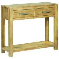 vidaXL Konzolový stolík 83x30x73 cm rustikálny dubový masív
