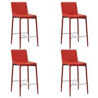 vidaXL Barové stoličky 4 ks, červené, umelá koža