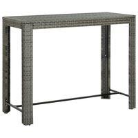 vidaXL Záhradný barový stolík sivý 140,5x60,5x110,5 cm polyratanový