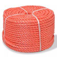 vidaXL Oranžové krútené lano z polypropylénu, 12 mm, 100 m