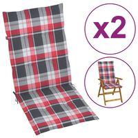 vidaXL Podložky na záhradné stoličky 2ks, červené,kockované 120x50x4cm