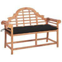 vidaXL Záhradná lavička s čiernou podložkou 120 cm teakový masív