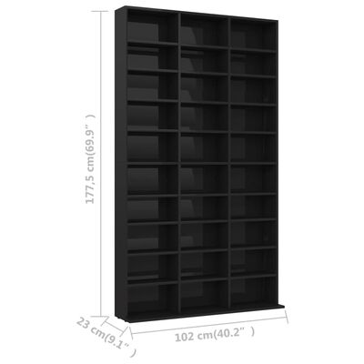 vidaXL Skrinka na CD, lesklá čierna 102x23x177,5 cm, drevotrieska