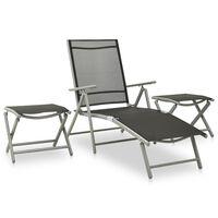 vidaXL 3-dielna záhradná sedacia súprava textilén a hliník strieborná