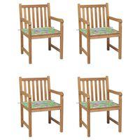 vidaXL Záhradné stoličky 4 ks s listovými podložkami teakový masív