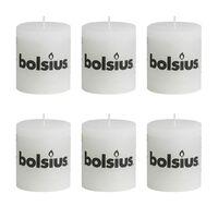 Bolsius Rustikálne valcové sviečky 80 x 68 mm, biele 6 ks