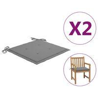 vidaXL Podložky na záhradné stoličky 2 ks, sivé 50x50x4 cm