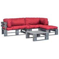 vidaXL 4-dielna záhradná súprava, palety, červené podložky, drevo