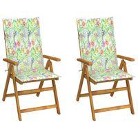 vidaXL Záhradné sklápacie stoličky 2 ks s podložkami akáciový masív