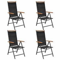 vidaXL Skladacie záhradné stoličky 4 ks, hliník a textilén, čierne