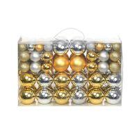 Sada vianočných gúľ 100 ks, strieborná/zlatá