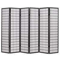 vidaXL Skladací paraván so 6 panelmi, japonský štýl 240x170 cm, čierny