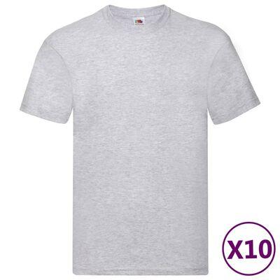Fruit of the Loom Originálne tričká 10 ks sivé XXL bavlnené