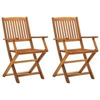 vidaXL Skladacie vonkajšie stoličky 2 ks akáciový masív