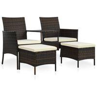 vidaXL 2-miestna záhradná pohovka s čajovým stolíkom a podnožkami hnedá polyratanová