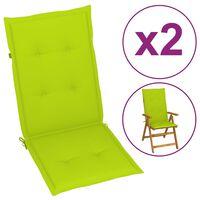 vidaXL Podložky na záhradné stoličky 2 ks jasnozelené 120x50x7 cm