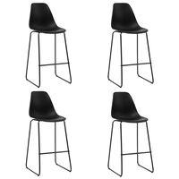 vidaXL Barové stoličky 4 ks, čierne, plast