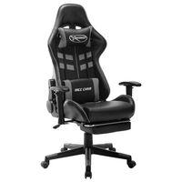 vidaXL Herná stolička s opierkou na nohy čierno-sivá umelá koža